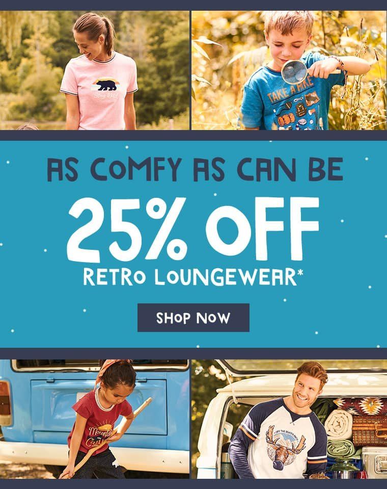 25% off retro loungewear