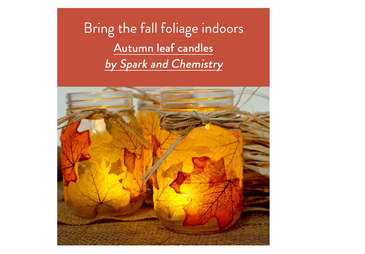Autumn leaf candles by Spark and Chemistry