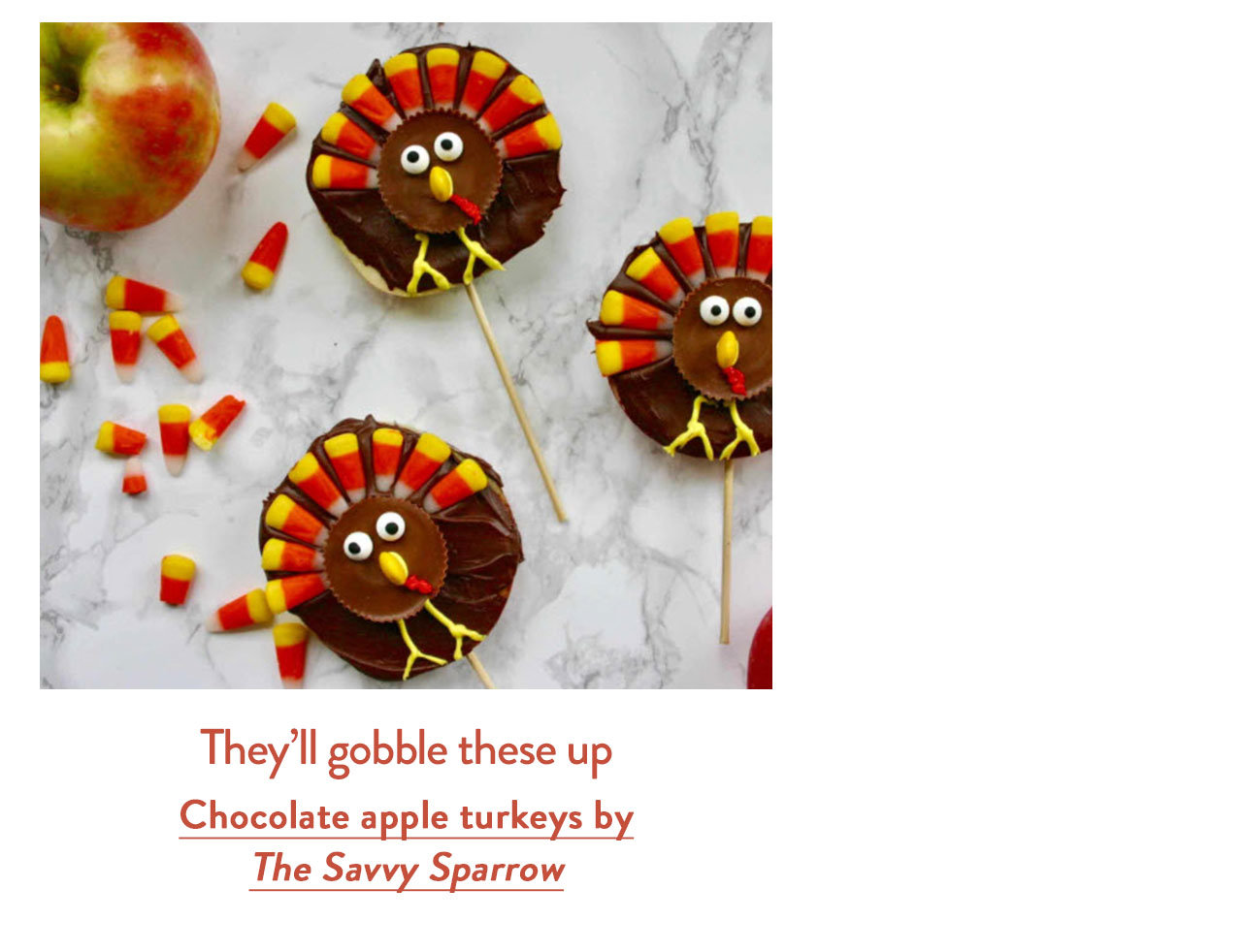 Chocolate apple turkeys by The Savvy Sparrow