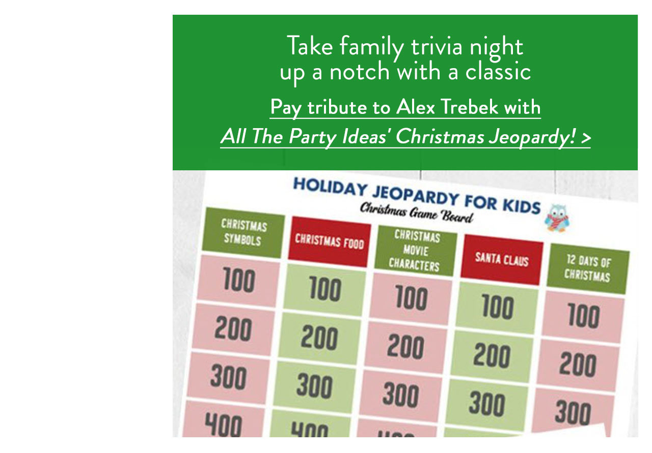 Pay tribute to Alex Trebek with All The Party Ideas' Christmas Jeopardy!
