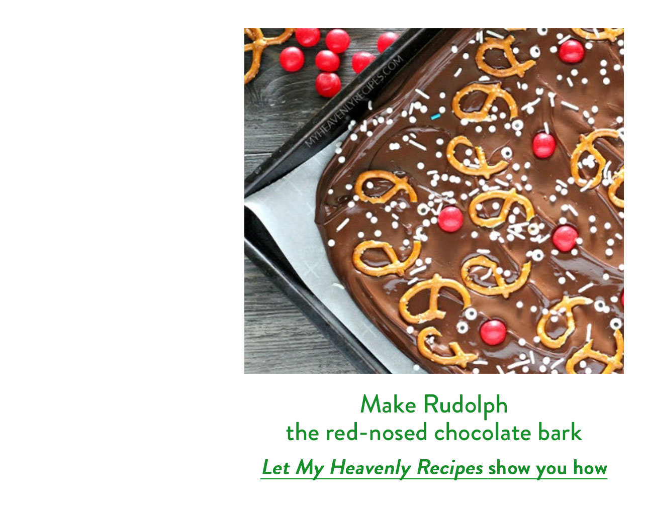 Make Rudolph the red-nosed chocolate bark