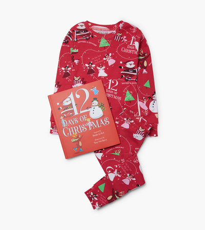 12 Days Of Christmas Book and Red Pajama Set