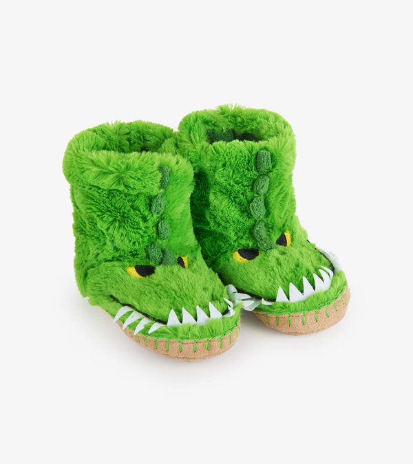Alligator Kids Fuzzy Slouch Slippers