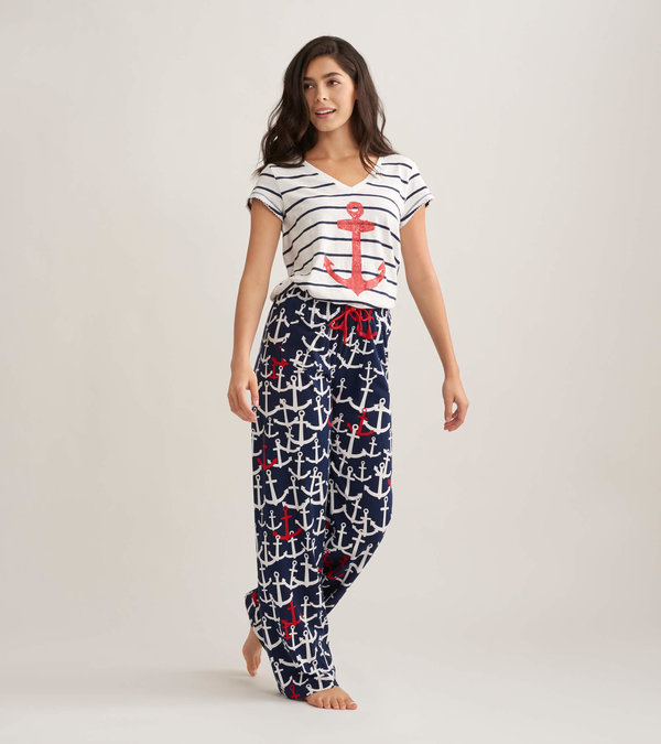 Anchors Women's Tee and Pants Pajama Separates