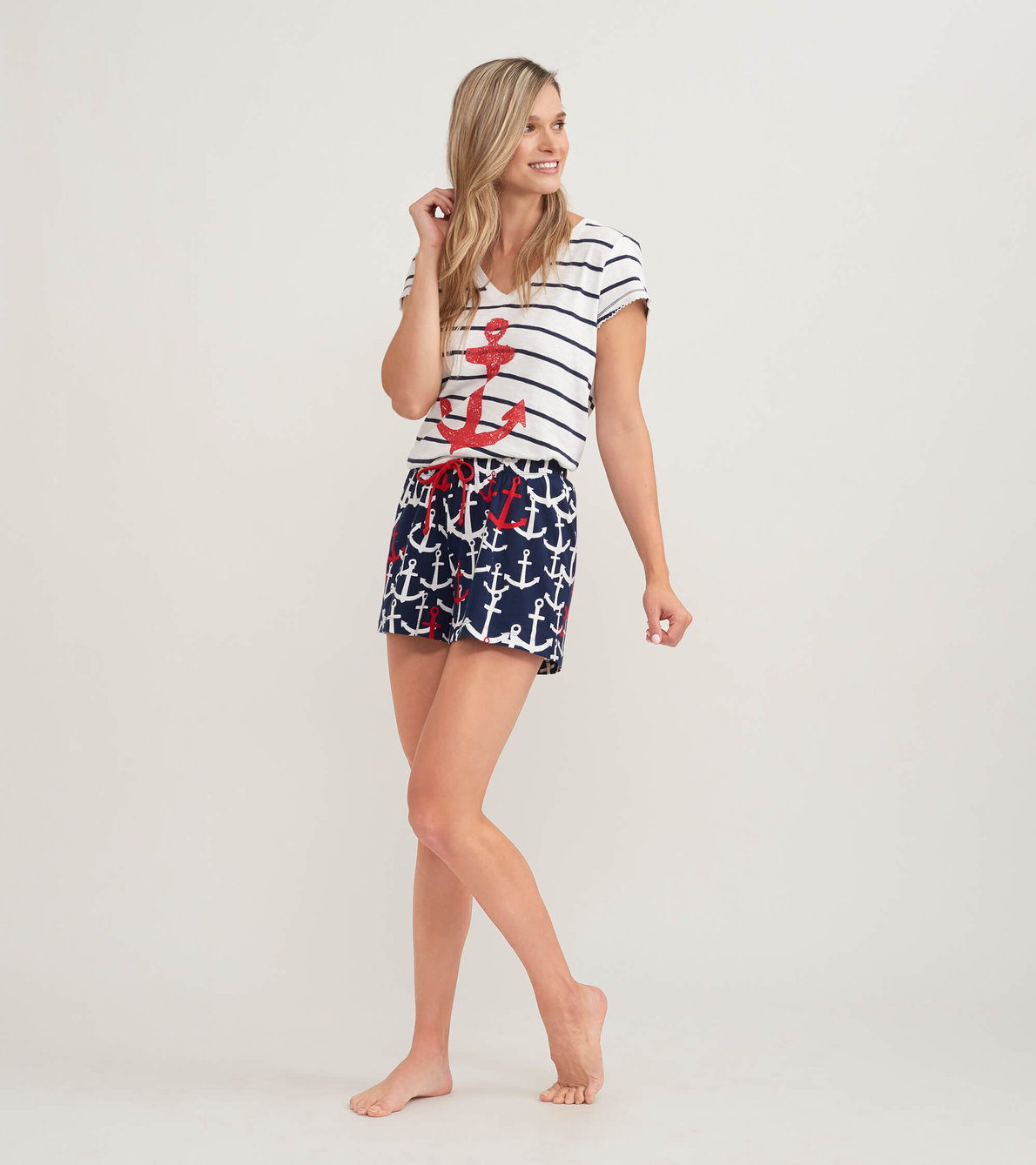 View larger image of Anchors Women's Tee and Shorts Pajama Separates