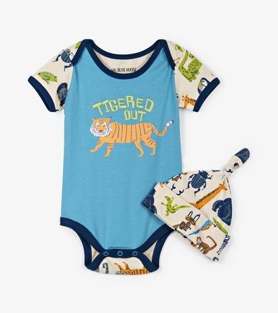 Animal Safari Baby Bodysuit with Hat