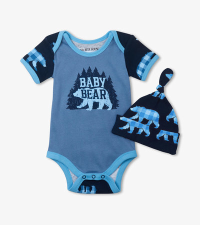 Baby Bear Blue Bodysuit with Hat