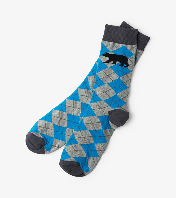 Bear Argyle Men's Crew Socks
