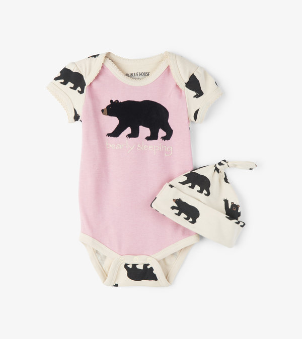 Bearly Sleeping Baby Bodysuit with Hat