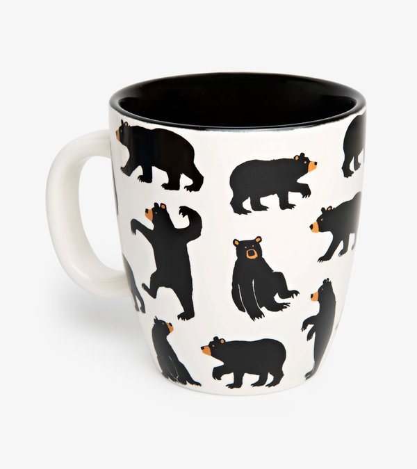 Bears on Cream Curved Ceramic Mug