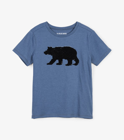 Black Bear Flip Sequin Kids Tee