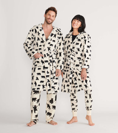 Black Bears on Natural Adult Fleece Robe