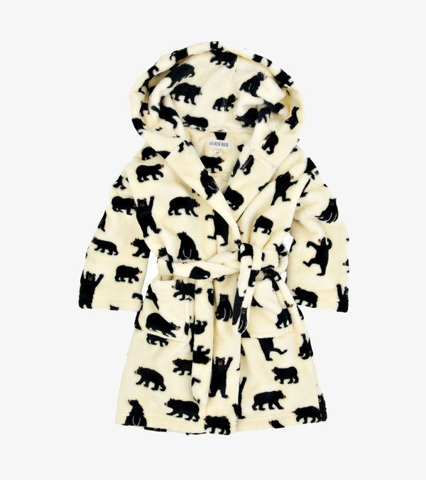 Black Bears on Natural Kids Fleece Robe