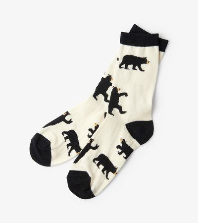Black Bears on Natural Women's Crew Socks