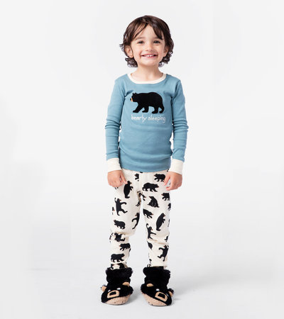 Blue Bearly Sleeping Kids Appliqué Pajama Set