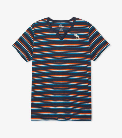 Blue Melange Stripe Men's Heritage Tee