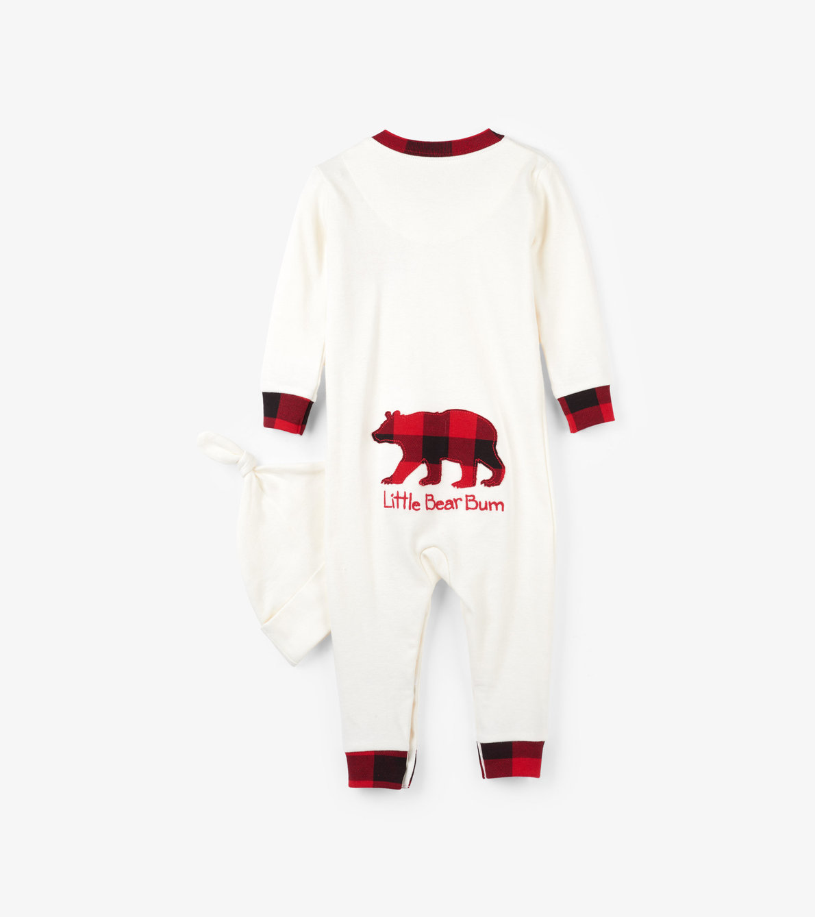 View larger image of Buffalo Plaid Baby Coverall with Hat