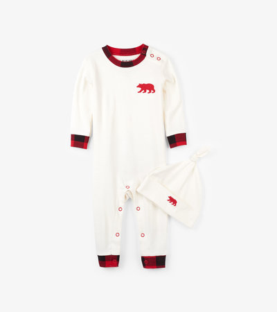 Buffalo Plaid Baby Coverall with Hat