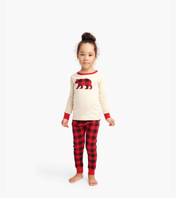 Buffalo Plaid Kids Appliqué Pajama Set