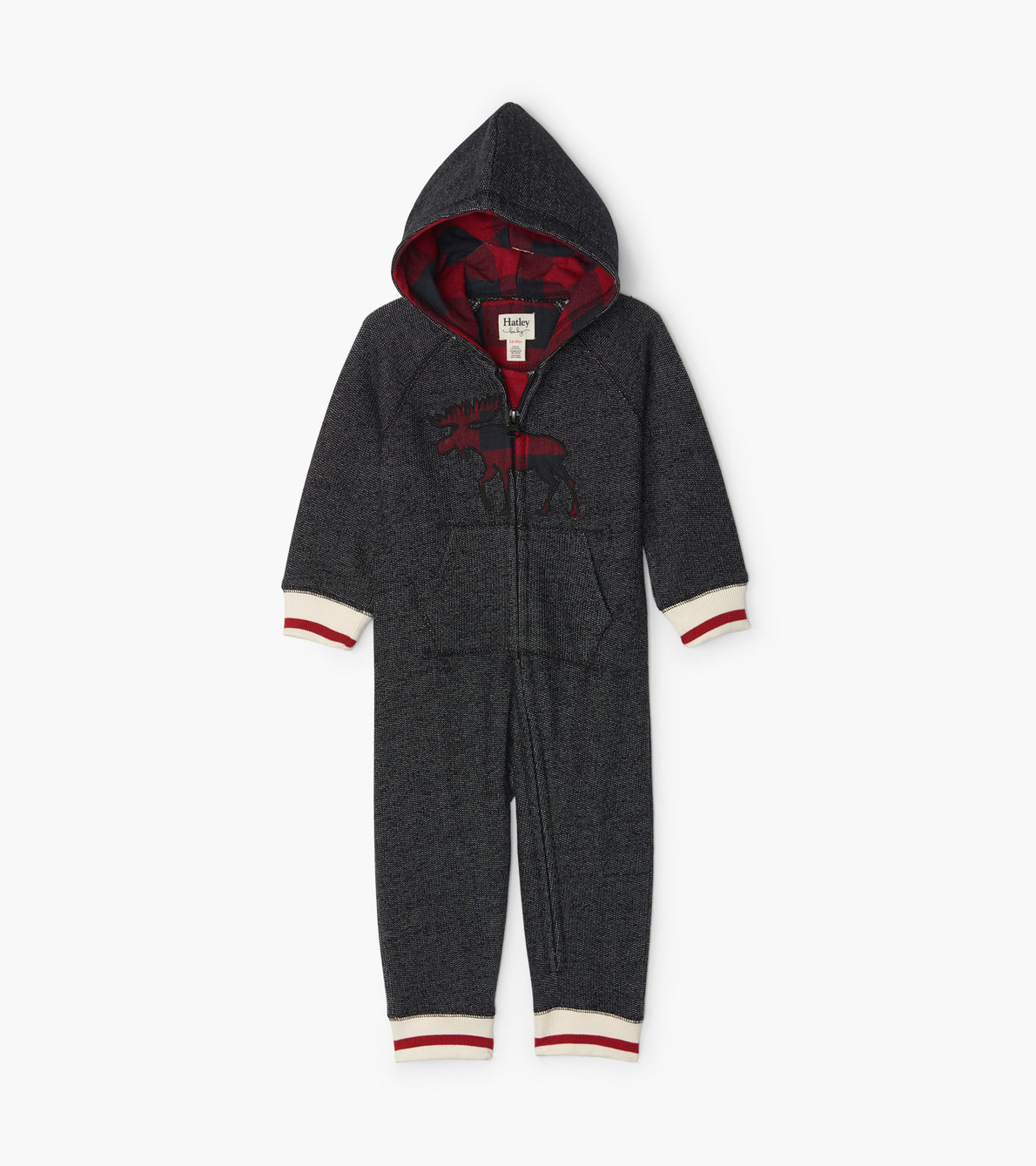 View larger image of Buffalo Plaid Moose Baby Heritage Full Zip Romper