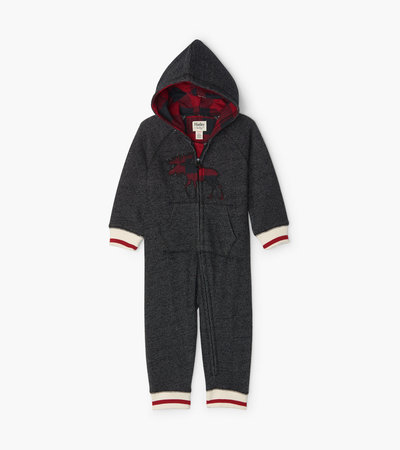 Buffalo Plaid Moose Baby Heritage Hooded Romper