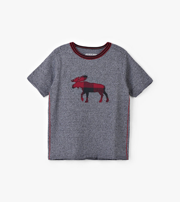 Buffalo Plaid Moose Kids Heritage Tee