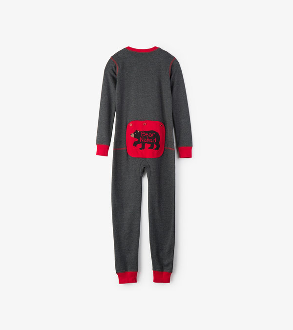 Charcoal Bear Naked Kids Union Suit