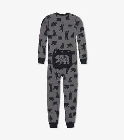 Charcoal Bears Kids Union Suit