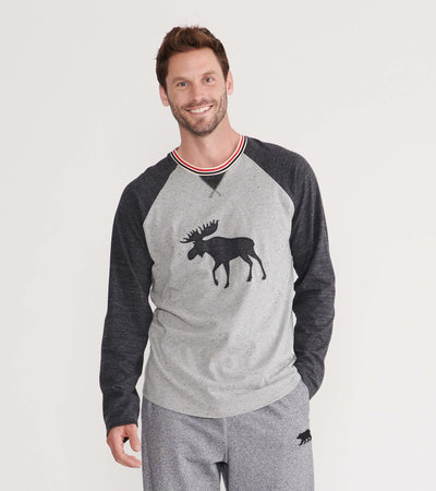 Charcoal Moose Men's Heritage Long Sleeve Raglan Tee