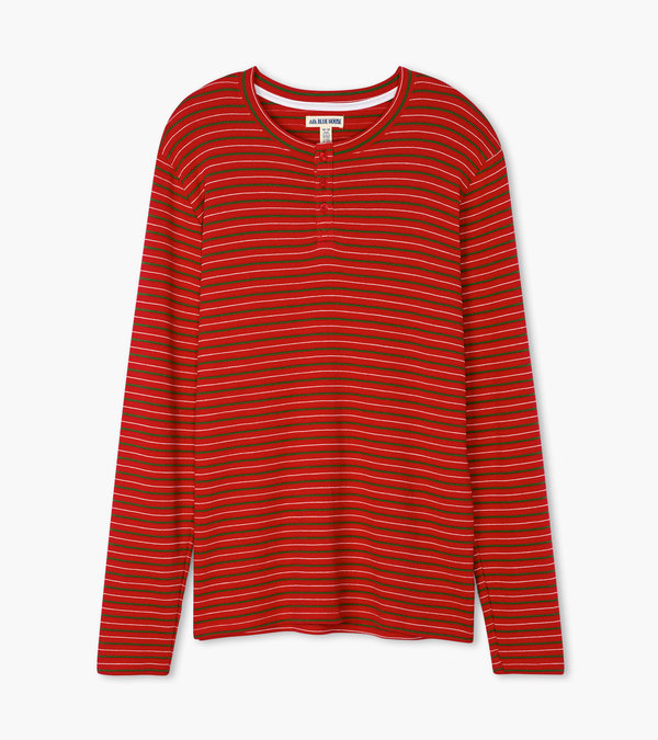 Christmas Village Stripe Men's Waffle Henley