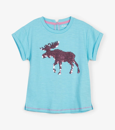 Classic Moose Flip Sequin Kids Tee