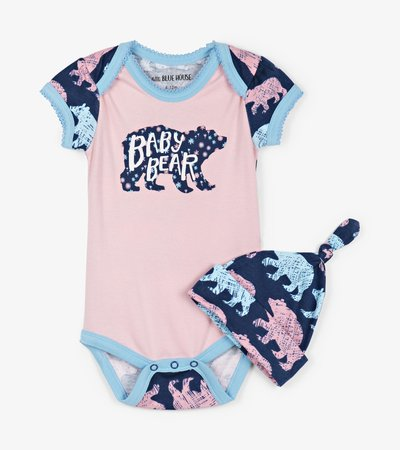 Cottage Bears Baby Bodysuit with Hat