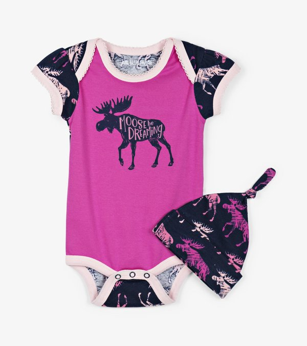 Cottage Moose Baby Bodysuit with Hat