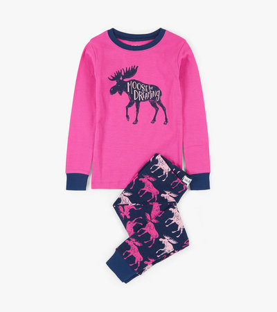 Cottage Moose Kids Appliqué Pajama Set