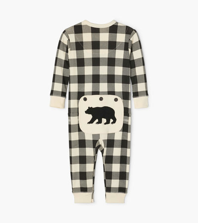 Cream Plaid Baby Union Suit