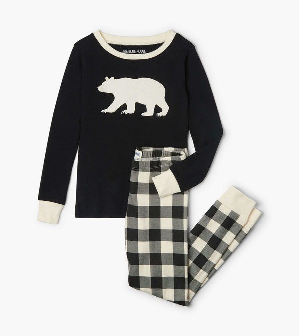 Cream Plaid Kids Appliqué Pajama Set