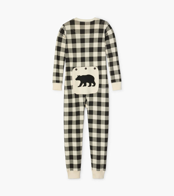 Cream Plaid Kids Union Suit