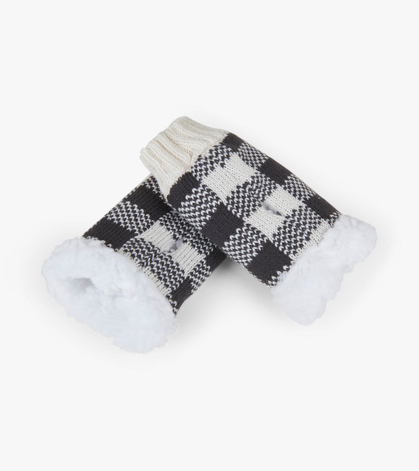 Cream Plaid Texting Mittens