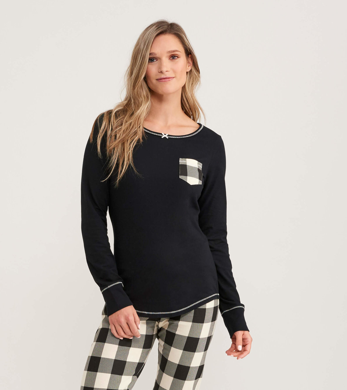View larger image of Cream Plaid Women's Stretch Jersey Top