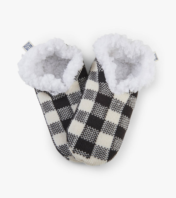 Cream Plaid Women's Warm And Cozy Slippers