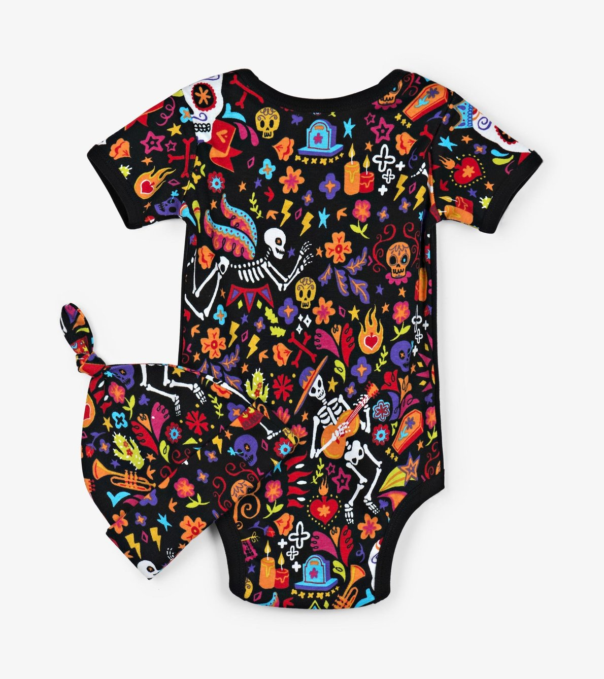 "View larger image of ""Day Of The Dead"" Baby Bodysuit with Hat"