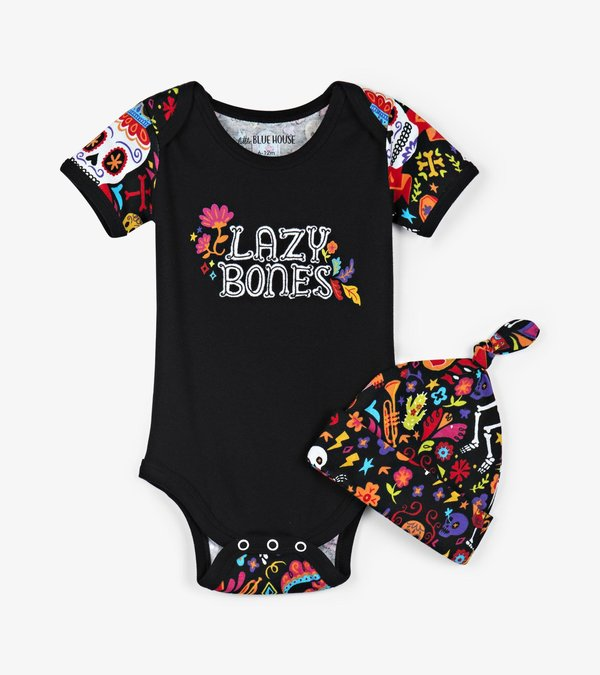 """Day Of The Dead"" Baby Bodysuit with Hat"