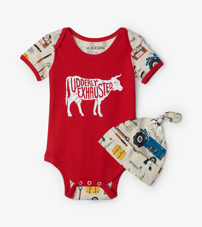 Farm Life Baby Bodysuit with Hat