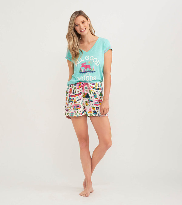 Glamping Women's Tee and Shorts Pajama Separates