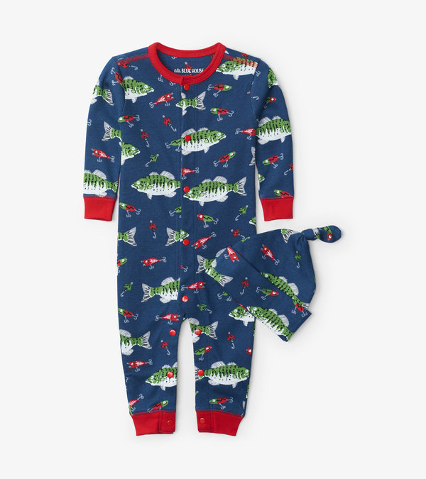 Gone Fishing Baby Coverall with Hat