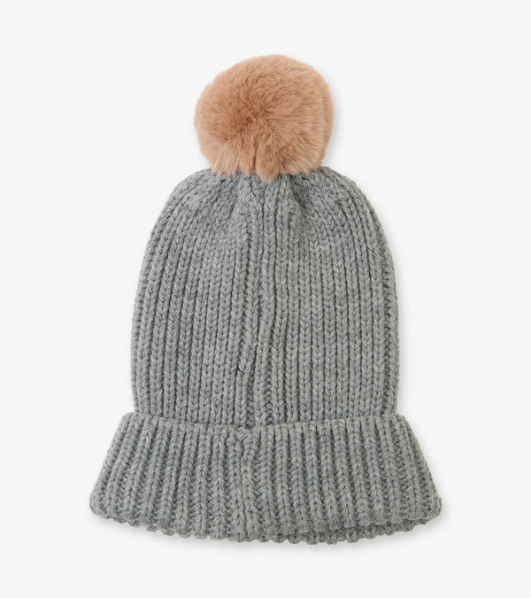 Grey Adult Heritage Pom Pom Winter Hat