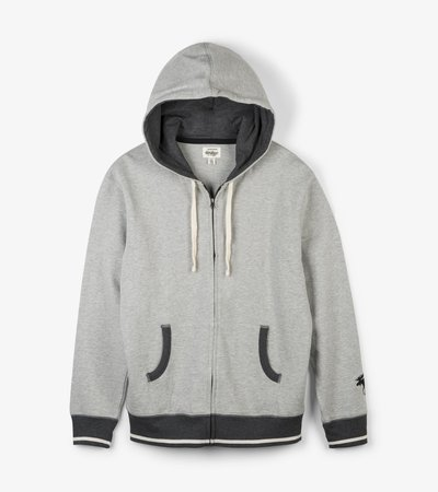 Grey Melange Men's Heritage Full Zip Hoodie