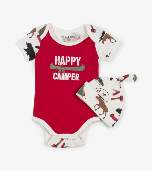 Happy Camper Baby Bodysuit with Hat