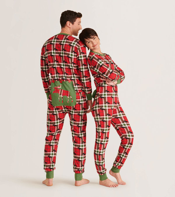 Holiday Moose on Plaid Adult Union Suit