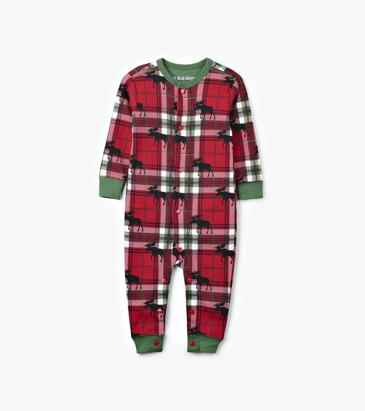 View larger image of Holiday Moose on Plaid Baby Union Suit